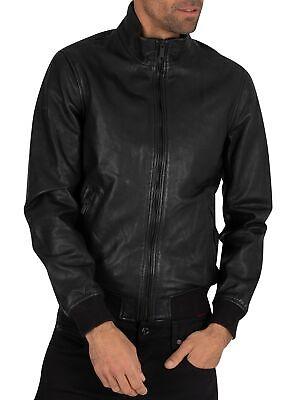 Superdry Men's Lightweight Leather Track Jacket, Black