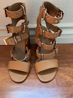 Laurence Dacade Beige Leather Gladiator Strappy Ankle Sandals Shoes Size 40