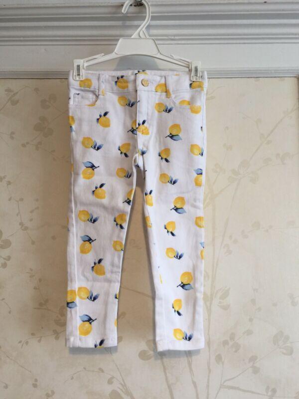 NWT Janie And Jack Girls Lemon Print Skinny Jeans Pants 3 3T