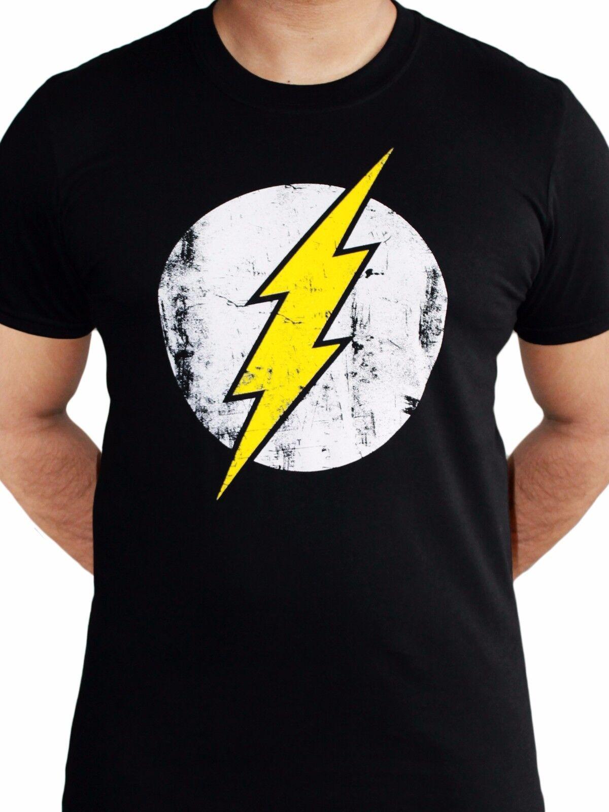 The Flash Logo Torn Lightning Tshirt Classic Official DC Comics White Mens Tee
