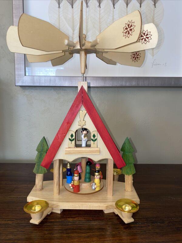 "Kurt Adler 7"" Alpine House Carousel Table Piece- Preowned With Box"