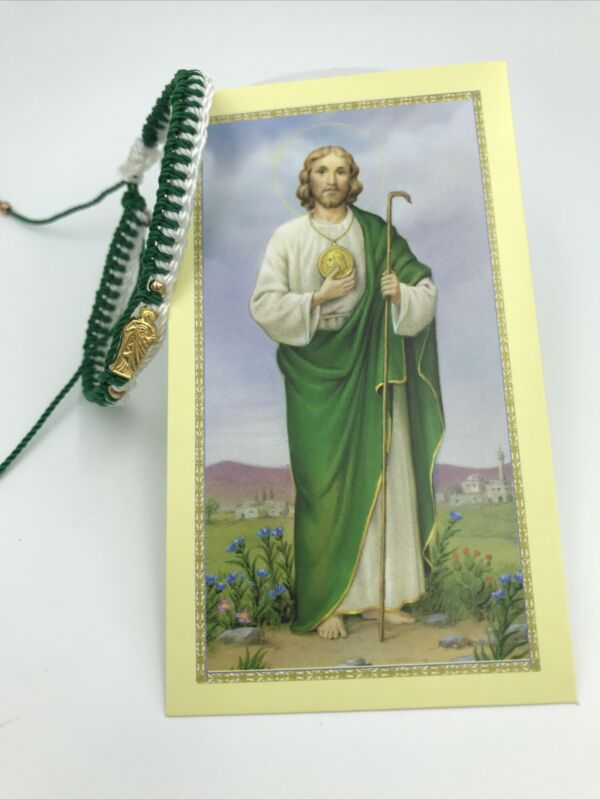 Saint Jude~Handmade Bracelet~ San Judas Tadeo Pulsera De Hilo Bicolor