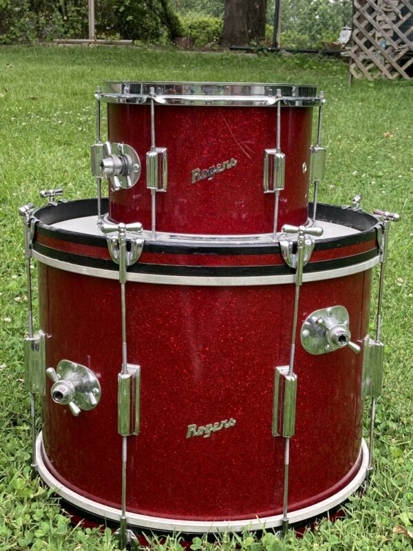Vintage Rogers Cleveland Era Tower Drum Kit 2pc Red Sparkle