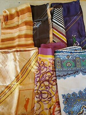 Vintage Scarf Styles -1920s to 1960s Vintage Womens Silk Fashion Scarf Lot Of 7 Square Scarves $19.99 AT vintagedancer.com