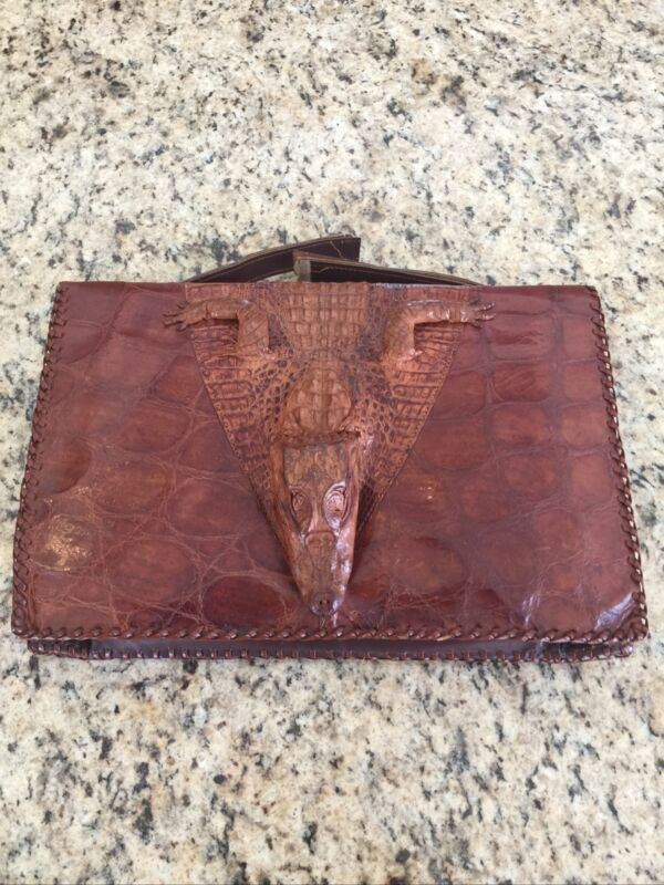 Genuine Vintage Alligator Purse w Full Head Body and Legs