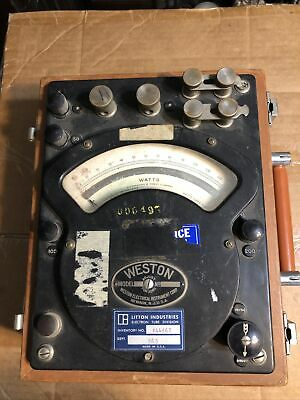 Vintage Weston Ac Dc Watt Meter Model 310 In Wooden Case Made In The Usa Litton