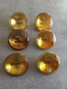 6 NOS vintage sealed beam amber jaune 4 1/2'' antique Fog light