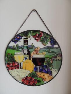 Stained glass wine glass hanging