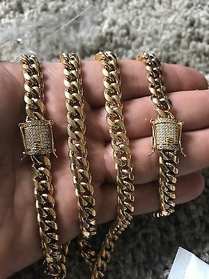 Men Cuban Miami Link Bracelet & Chain Set  18k Gold Plated 8mm *Diamond Clasp*