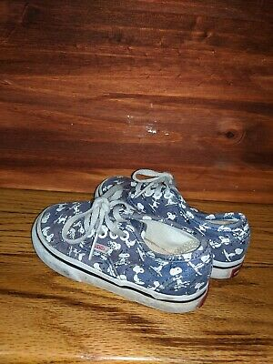 Vans x PEANUTS Snoopy Skating Shoes Authentic Blue SKATEBOARD Toddler Size 6.5C