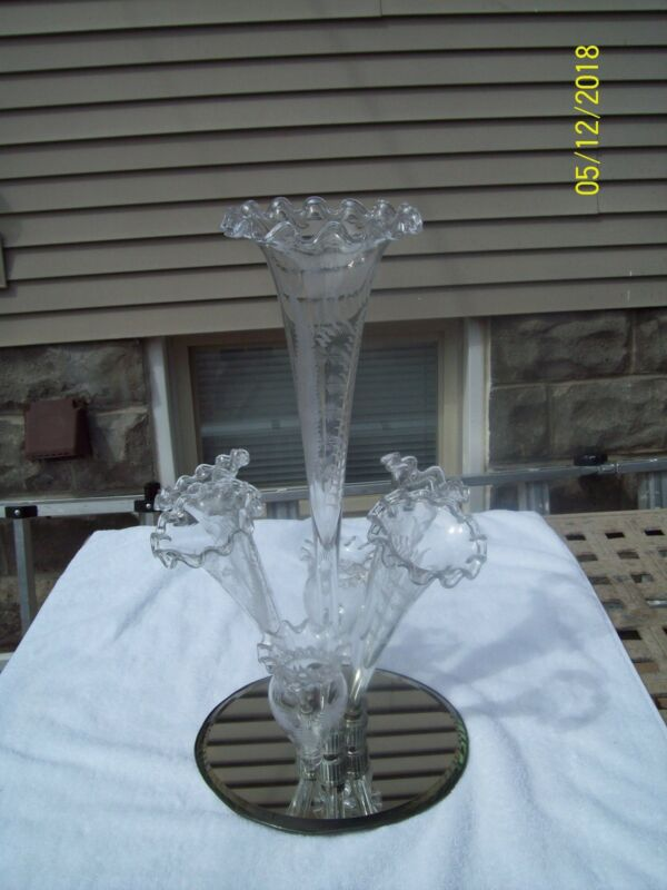Antique Victorian Epergne Centerpiece Cut Etched Glass with Mirror Base