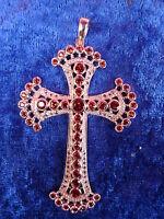 Ciondolo Prezioso__croce__argento 925__con Rossa,lucidato Pietre__7,5cm -  - ebay.it