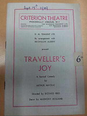 1949 Criterion Theatre programme: TRAVELLER'S JOY by Arthur Macrae