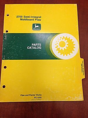 John Deere Parts Catalog 2700 Semi-integral Moldboard Plow Pc1803 Used