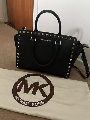 Michael Kors Selma Large Black Gold Stud Crossbody Bag