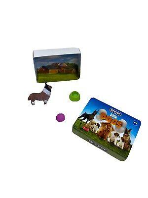 Breyer Pocket Dog Box Collie and 2 Water/Food Bowls