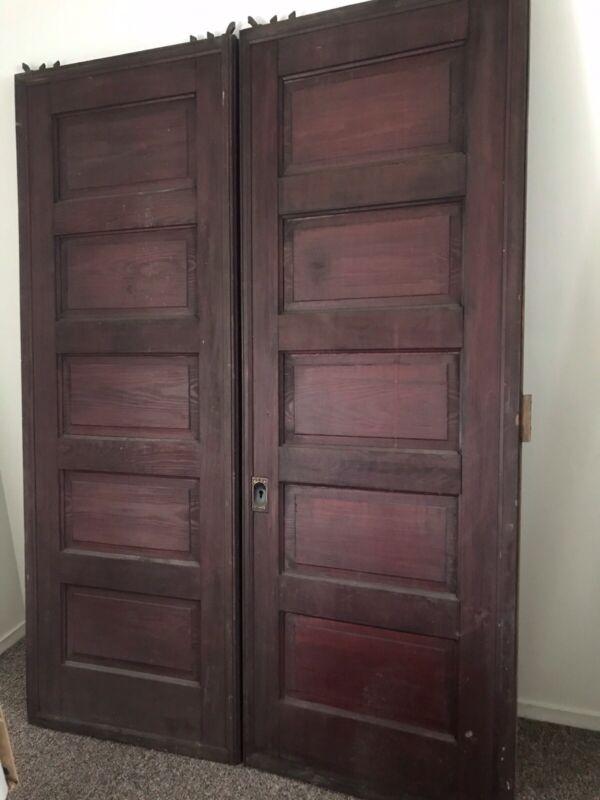 "1910 Vintage Antique Reclaimed Pocket Doors 60"" x 83"""