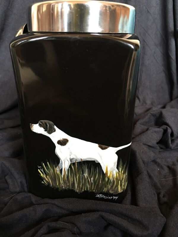 GERMAN SHORTHAIRED POINTER ceramic Dog Treat Jar HANDPAINTED original art