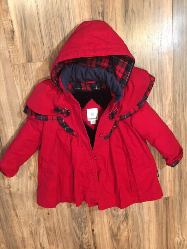 Vintage London Fog Coat Toddler/Girls 2T Red- Lined With Detachable Hood