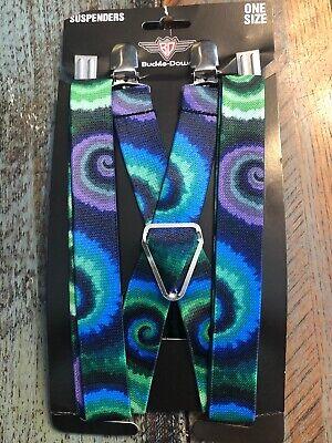 New Buckle Down Men's Elastic Tie Dye Purple Blue Gree Print Clip-End Suspenders - Tie Dye Suspenders