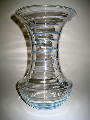 grosse Art Deco Glas Vase _ aufgelegter blauer Faden _ 25cm