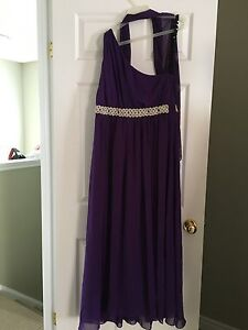 Purple Formal Gown with Beaded Accent