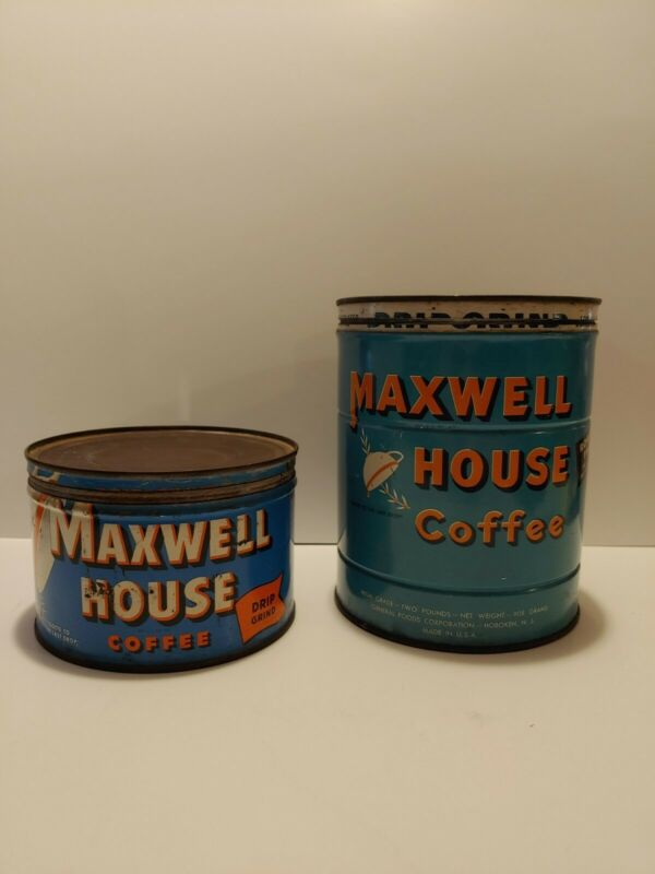 Vintage Coffee Tins With Lids Bundle of 2 Maxwell House One From 1913