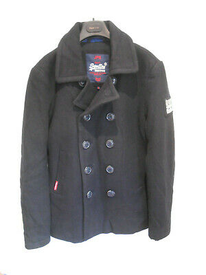 Superdry The Rookie Peacoat navy wool blend Reefer jacket coat L VGC smart casua