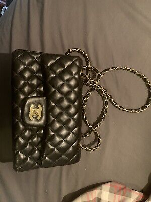 New Black Quilted Shoulder Bag - Faux leather - Gold Tone Hardware Double Chain