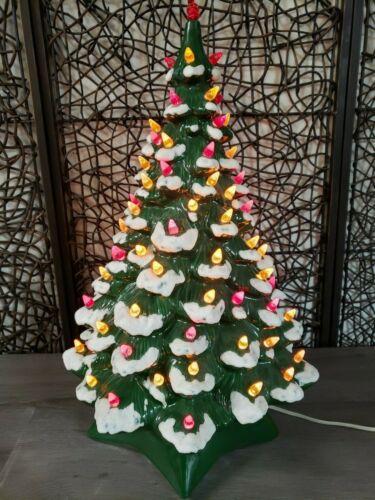 """Vintage Holland Lighted Ceramic Christmas Tree 18"""" Tall Flocked 2 Piece Tested"""