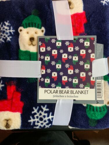 "SOFT PLUSH BLANKET CHRISTMAS POLAR BEARS WINTER FUN 50"" X 60"" NWT"