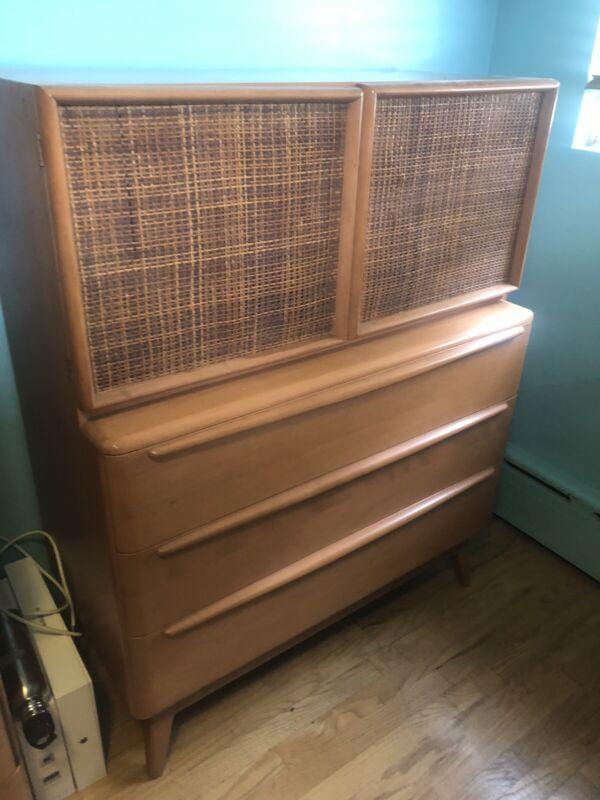 heywood wakefield dresser Rare Mid Century Modern Eames Era Caning On Doors