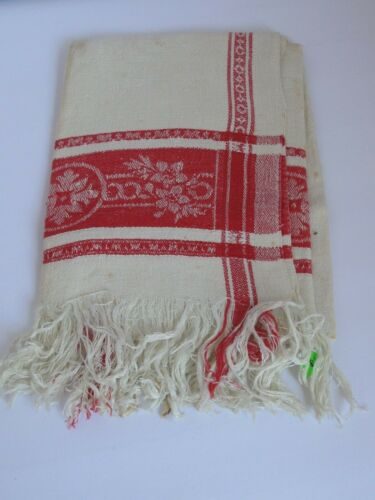 "Antique Linen Damask Towel Turkey Red  21"" X 44"""
