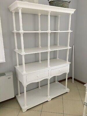 Libreria Etagere con ripiani in stile shabby chic bianco