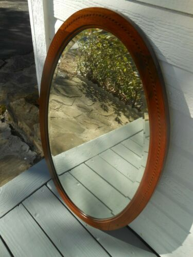 "PJL-279 Oval Mahogany W/Inlay Framed Mirror From England 20 7/8"""" X 33"" Tall"
