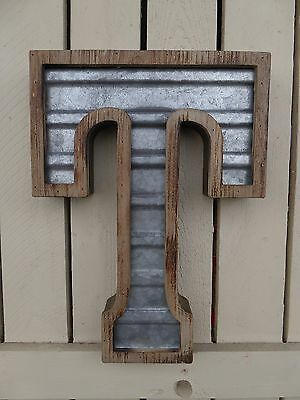 Large WOOD & CORRUGATED METAL - Wedding Home Family - Wall INDUSTRIAL LETTER T