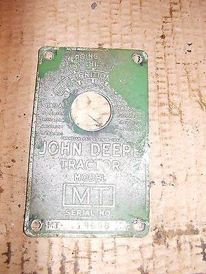 1950 John Deere Mt Rowcrop Tractor Original Jd Serial Number Tag 19689