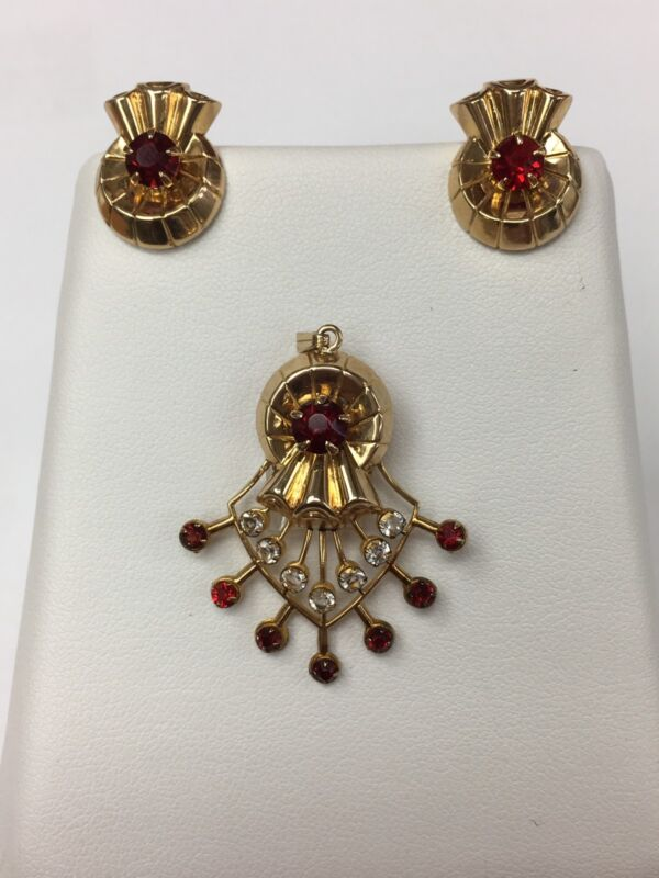 10K YELLOW GOLD ANTIQUE PENDANT AND CLIP EARRINGS SET Synthetic Rubies Diamonds