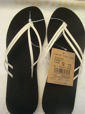 LADIES REEF BLACK/WHITE SNAKE DOUBLE BLISS BEACH FLIP FLOP SANDALS SIZE 9 NWT Reef Snake