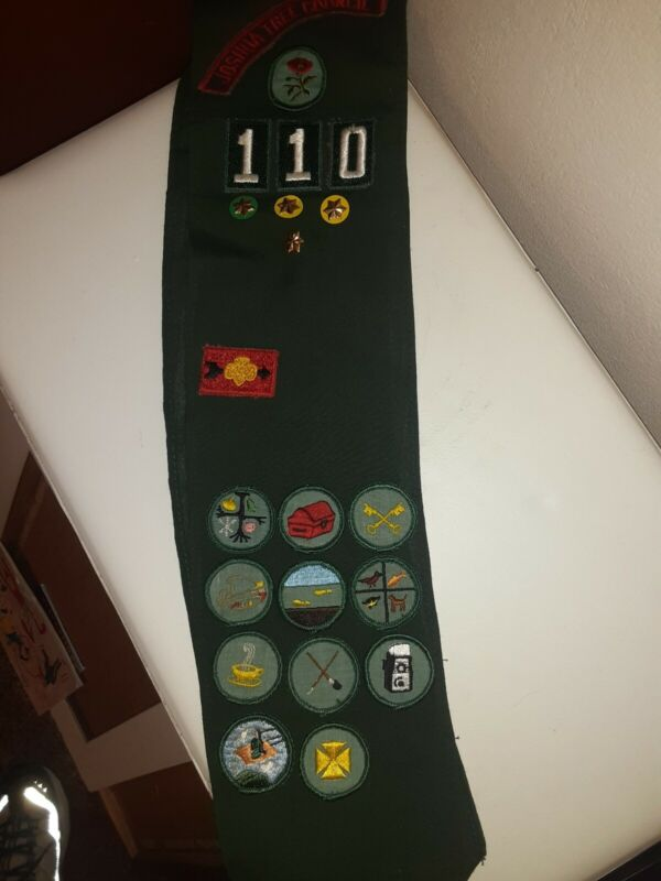 Vintage Girl Scout Sash-1960s-with badges, patches and pins