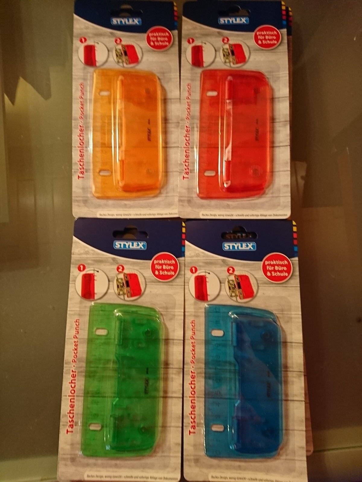 Stylex Taschenlocher verschiedene Farben 2-3 Blatt zum Abheften für Büro Schule