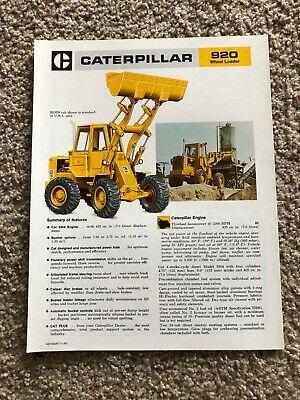 1981 Caterpillar 920 Wheel Loader Original Sales Literature.