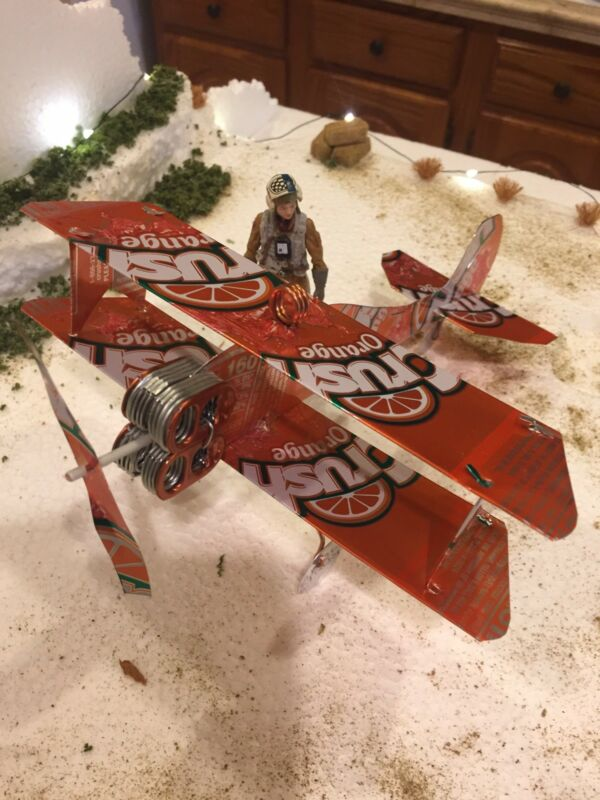 Orange Crush Plane Tin Sign HANDCRAFTED from CANS Crushing Customs Plane