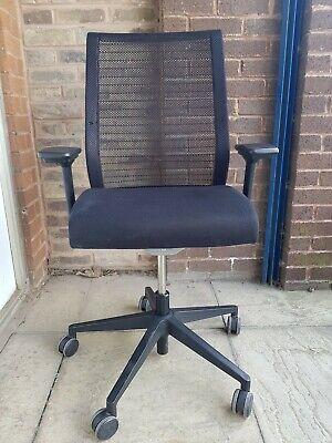 Steelcase Think Task Executive Chair Arms Black Chrome Swivel Aeron