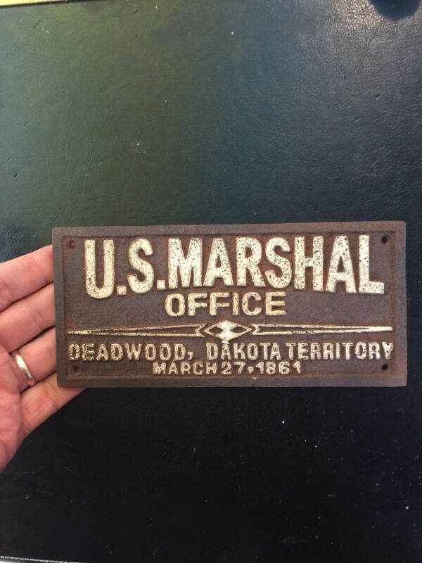 "Marshal Metal Sign Antique Style Plaque 1/4"" Thick Wyatt Earp Patina Finish f/g"