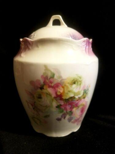 BEAUTIFUL ANTIQUE GERMAN BISCUIT CRACKER COOKIE JAR HAND PTD ROSE ROSES WHEELOCK