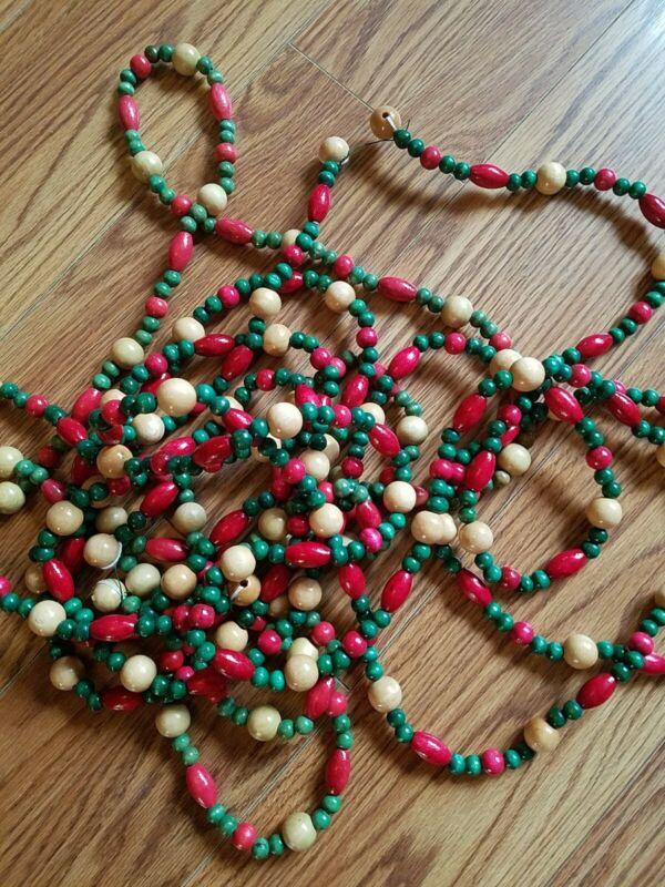 """Wood Christmas Beads Garland 27.5"""""""