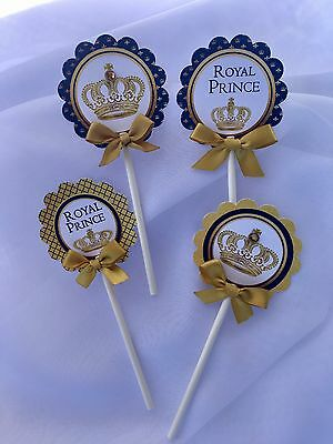 Royal Cupcake Toppers/Royal Prince cupcake toppers/ Royal blue and - Royal Blue Cupcakes