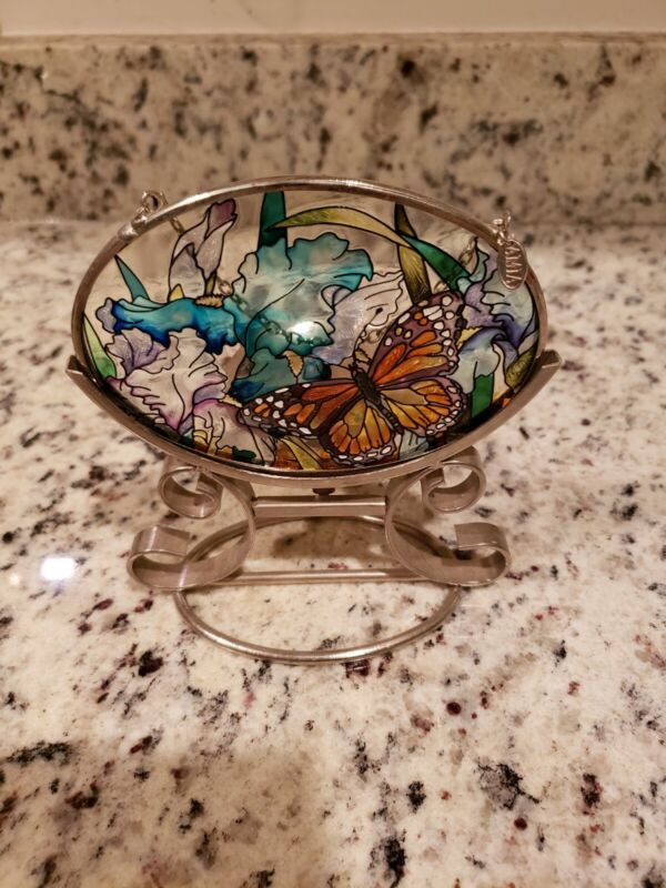 Butterfly Stained Glass Tea Light Candle Holder