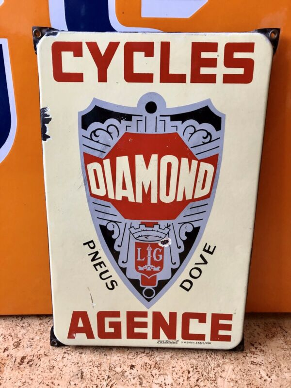 Antique French Porcelain Enamel Bicycle Dealer Sign Diamond Cycles